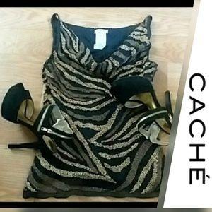 100% Silk Beaded Formal Sleeveless Blouse- Cache